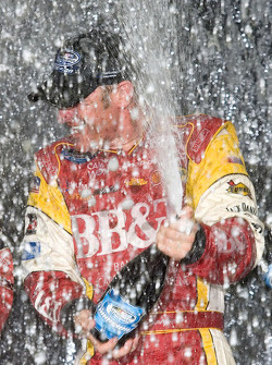 Championship victory lane: 2008 NASCAR Nationwide Series champion Clint Bowyer celebrates