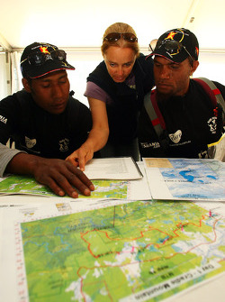Launceston, Australia: Javith Ababu and Gibson Kemori of team No Roads Expiditions look at their course maps