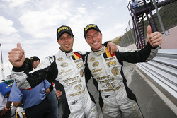 GT1 class and overall race winners Anthony Kumpen and Bert Longin celebrate