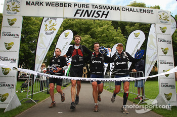 Hobart, Australia: Team Telstra cross the finish line