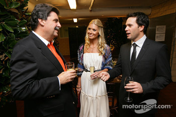 NASCAR President Mike Helton, Chandra Johnson and 2008 NASCAR Sprint Cup Series champion Jimmie Johnson chat before sitting down at the Chef's Table at the Waldorf=Astoria for the Champion's Dinner