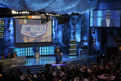 NASCAR champion Richard Petty gives the audience his own take on 60 years of auto racing history during the NASCAR Sprint Cup Series Awards Ceremony at the Waldorf=Astoria
