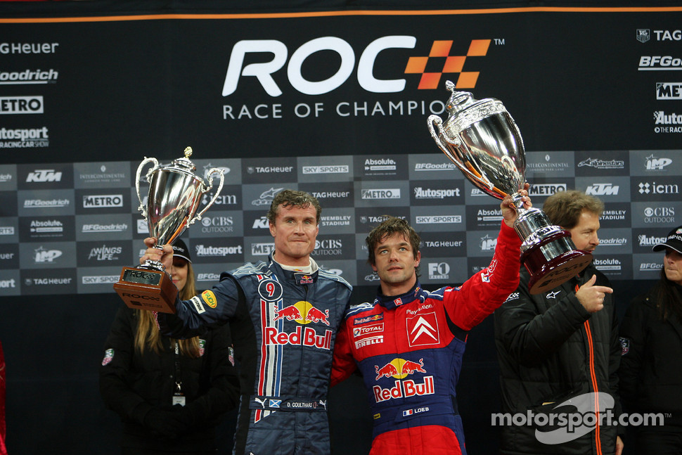 Podium: Race of Champions winner Sébastien Loeb celebrates with second place David Coulthard