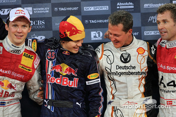 Podium: Nations Cup winners Michael Schumacher and Sebastian Vettel (Team Germany) celebrate with second place Mattias Ekstrm and Tom Kristensen (Team Scandinavia)