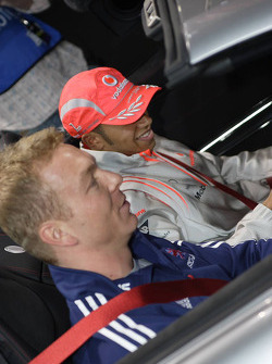Lewis Hamilton and Chris Hoy in McLaren SLR