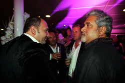 Dr Vijay Mallya Force India F1 Team Owner with Colin Kolles Force India F1 Team Principal on the Fly Kingfisher boat party on the Indian Empress