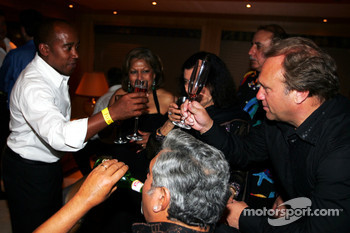 Dr Vijay Mallya Force India F1 Team Owner and Anthony Hamilton on the Fly Kingfisher boat party on the Indian Empress