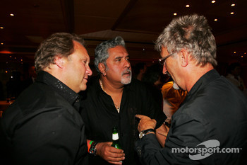 Dr Vijay Mallya Force India F1 Team Owner and Eddie Jordan on the Fly Kingfisher boat party on the Indian Empress