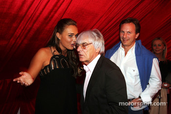 Tamara Ecclestone Sky Sport Television Presenter with Dad Bernie Ecclestone F1 Supremo and Christian Horner Red Bull Racing Sporting Director at the Fly Kingfisher Boat Party