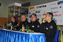 Loprais Tatra Team presentation: driver Ales Loprais, co-driver Vojtech Stajf and co-driver Milan Holan during the press conference