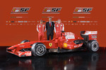 Felipe Massa, team director Stefano Domenicali and Kimi Raikkonen with the new Ferrari F60