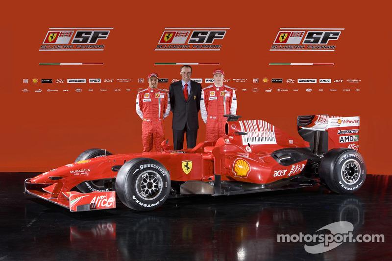 Felipe Massa, team director Stefano Domenicali and Kimi Raikkonen with the new Ferrari F60