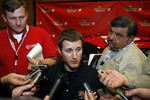 Kasey Kahne talks to the media about Richard Petty Motorsports