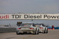 #46 Flying Lizard Motorsports Porsche 911 GT3 RSR: Seth Neiman, Darren Law, Johannes van Overbeek, #45 Flying Lizard Motorsports Porsche 911 GT3 RSR: Jorg Bergmeister, Patrick Long