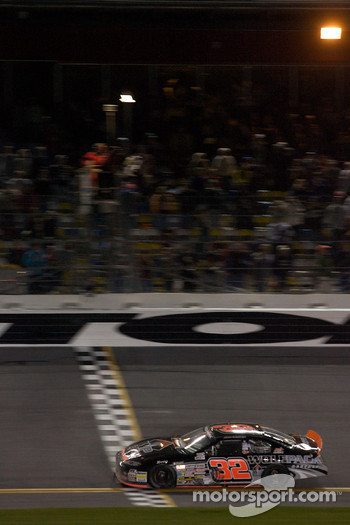 James Buescher takes the checkered flag