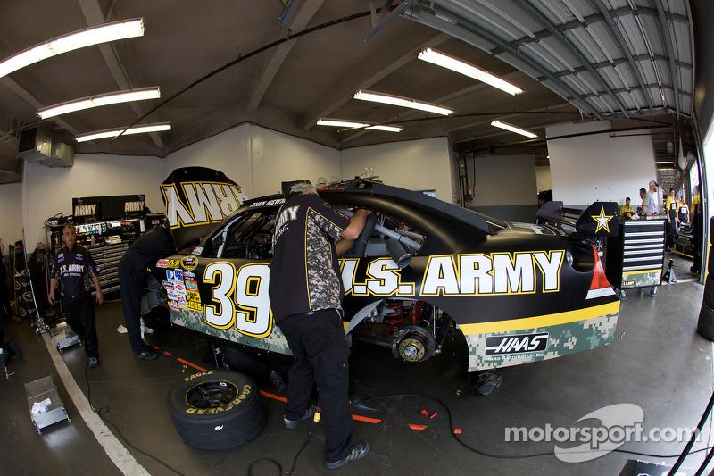 Stewart-Haas Racing Chevrolet work on the car of Ryan Newman