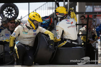 Corvette Racing team members ready for a pit stop