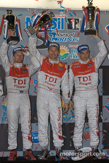 P1 podium: class and overall winners Allan McNish, Tom Kristensen and Rinaldo Capello