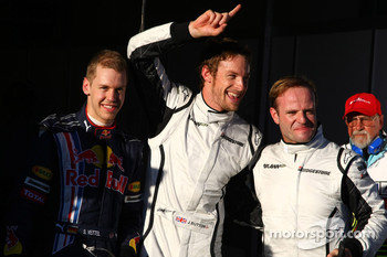 Pole winner Jenson Button, Brawn GP, second place Rubens Barrichello, third place Sebastian Vettel, Red Bull Racing
