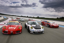 GT2 cars on-track photoshoot
