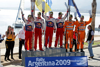 Podium: winners Sébastien Loeb and Daniel Elena, Citroen C4, Citroen Total World Rally Team, second place Daniel Sordo and Marc Marti, Citroen C4 Citroen Total World Rally Team, third place Henning Solberg and Cato Menkerud, Ford Focus RS WRC 08, Stobart