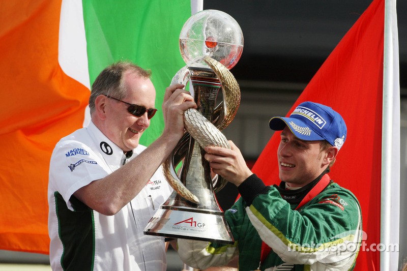 Mark Gallagher and Adam Carroll, driver of A1 Team Ireland, win the world cup of motorsport