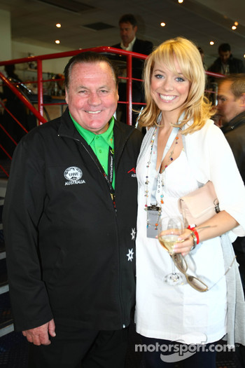 Alan Jones, Seat Holder of A1 Team Australia with Liz McClarnon