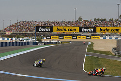 Dani Pedrosa, Repsol Honda Team leads Valentino Rossi, Fiat Yamaha Team