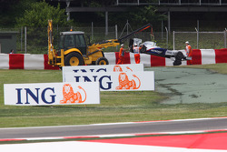 Car of Nick Heidfeld, BMW Sauber F1 Team after crashing into the barrier