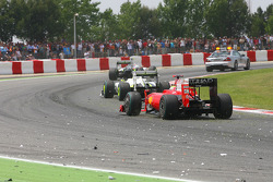 Felipe Massa, Scuderia Ferrari passing the track with spare parts from the crash