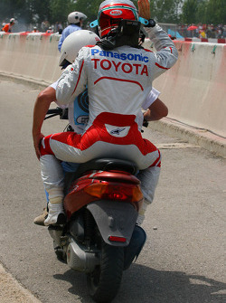 Jarno Trulli, Toyota F1 Team after being out of the race