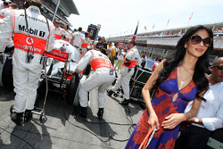 Nicole Scherzinger, Singer in the Pussycat Dolls and girlfriend of Lewis Hamilton, McLaren Mercedes