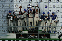 LMP2 podium: class winners Casper Elgaard, Kristian Poulsen and Emmanuel Collard, second place Jonny Kane, Benjamin Leuenberger and Xavier Pompidou, third place Filippo Francioni, Andrea Ceccato and Giacomo Piccini