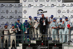 LMP1 podium: class and overall winners Nicolas Minassian, Christian Klien and Simon Pagenaud, second place Jean-Christophe Boullion and Christophe Tinseau, third place Jan Charouz, Tomas Enge and Stefan Mücke, with LMP2 class winners Casper Elgaard, Kris
