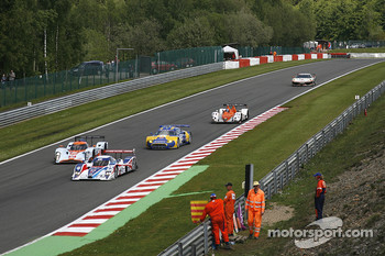 A pack lead by #25 RML Lola B08/80 Coup - Mazda: Thomas Erdos, Mike Newton