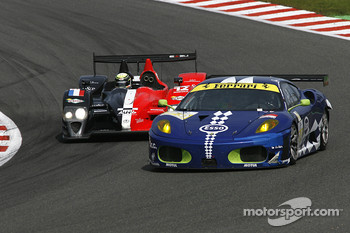#99 JMB Racing Ferrari F430 GT: John Hartshorne, Manuel Rodrigues, Ralf Kelleners; #12 Signature Plus Courage-Oreca LC70 - Judd: Pierre Ragues, Frank Mailleux