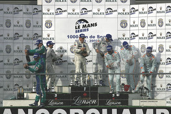 LMP1 podium: class and overall winners Nicolas Minassian, Christian Klien, Simon Pagenaud; second place Jean-Christophe Boullion, Christophe Tinseau; third place Jan Charouz, Tomas Enge, Stefan Mücke