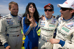 Marcel Tiemann , Romain Dumas and #12 Kissling Motorsport Chevrolet Corvette C6: Reinhold Renger, Roland Rehfeld pose with a grid girl