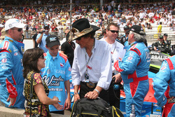 Richard Petty visits with Mrs. John Andretti