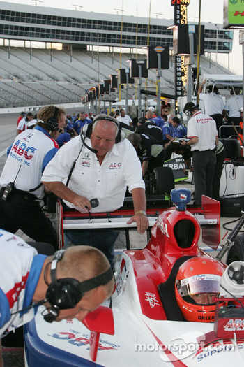 A.J. Foyt works on the rear wing of his grandson A.J. Foyt IV, A.J. Foyt Enterprises