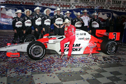 Victory lane: race winner Helio Castroneves, Team Penske, celebrates