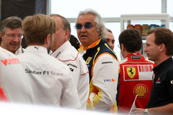 A meeting of Team Principles and drivers is held in the Toyota motorhome, Flavio Briatore, Renault F1 Team, Team Chief, Managing Director, Christian Horner, Red Bull Racing, Sporting Director