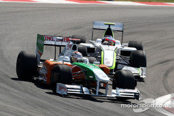 Adrian Sutil, Force India F1 Team, Rubens Barrichello, Brawn GP