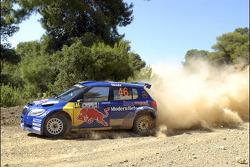 Patrik Sandell and Emil Axelsson, Skoda Fabia S2000, Red Bull Rally Team