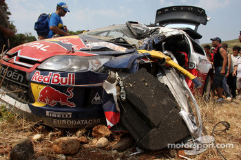 Wrecked car of Sébastien Loeb and Daniel Elena, Citroen C4, Citroen Total World Rally Team