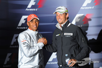 FIA press conference: Lewis Hamilton, McLaren Mercedes with Jenson Button, Brawn GP