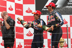Podium: Adrian Newey, Red Bull Racing, Technical Operations Director with Sebastian Vettel, Red Bull Racing and Mark Webber, Red Bull Racing