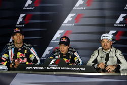 Press conference: race winner Sebastian Vettel, Red Bull Racing, second place Mark Webber, Red Bull Racing, third place Rubens Barrichello, Brawn GP