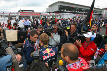Sebastian Vettel, Red Bull Racing surrounded by TV Cameras