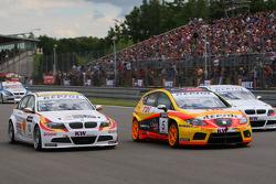 Sergio Hernandez, BMW Team Italy-Spain, BMW 320si, Tiago Monteiro, Seat Sport, Seat Leon 2.0 TDI and Jorg Muller, BMW Team Germany, BMW 320si